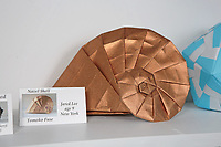 New York, NY, USA - June 24-25, 2017: OrigamiUSA 2017 Convention at St. John's University, Queens, New York, USA. Exhibition - Origami by Children. Tomoko Fuse design folded by Jared Lee, 9.
