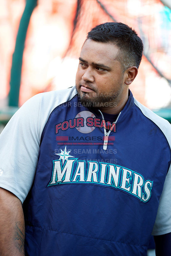 Tacoma Rainers designated hitter Luis Jimenez #53 during practice before the Triple-A All-Star game featuring the Pacific Coast League and International League top players at Coca-Cola Field on July 11, 2012 in Buffalo, New York.  PCL defeated the IL 3-0.  (Mike Janes/Four Seam Images)