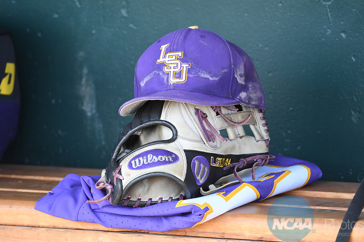 OMAHA, NE - JUNE 26: A Louisiana State University player has their equipment ready to go before his team takes on the University of Florida during the Division I Men's Baseball Championship held at TD Ameritrade Park on June 26, 2017 in Omaha, Nebraska. The University of Florida defeated Louisiana State University 4-3 in game one of the best of three series. (Photo by Justin Tafoya/NCAA Photos via Getty Images)