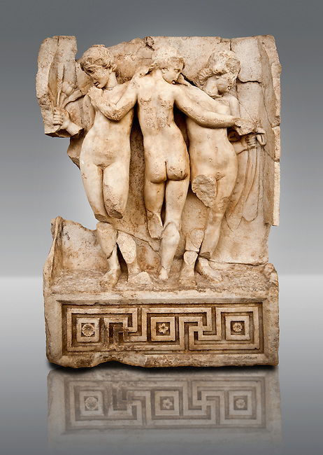 Photo of Roman releif sculpture of Tree Graces from the South Building, Second storey, Aphrodisias, Turkey, Images of Roman art bas releifs. Buy as stock or photo art prints. From The South Building, Rooms 1-3, Mythological Releifs.