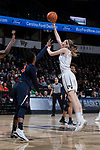 Ivana Raca (11) of the Wake Forest Demon Deacons shoots over J'Kyra Brown (10) of the Virginia Cavaliers during first half action at the LJVM Coliseum on February 25, 2018 in Winston-Salem, North Carolina. The Cavaliers defeated the Demon Deacons 48-41. (Brian Westerholt/Sports On Film)