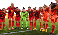 20200304  Parchal , Portugal : Belgian players pictured before the female football game between the national teams of New Zealand , known as the Football Ferns and Belgium called the Red Flames on the first matchday of the Algarve Cup 2020 , a prestigious friendly womensoccer tournament in Portugal , on wednesday 4 th March 2020 in Parchal , Portugal . PHOTO SPORTPIX.BE   DAVID CATRY