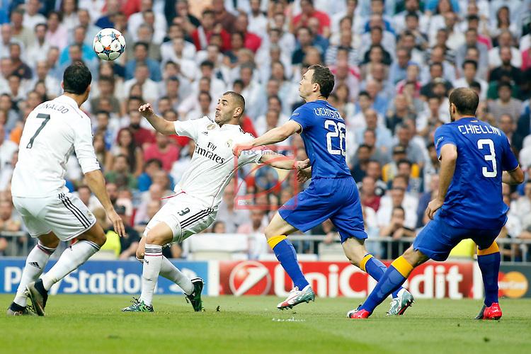 UEFA Champions League 2014-2015.<br /> Semi-finals 2nd LEG.<br /> Real Madrid CF vs Juventus: 1-1.<br /> Cristiano Ronaldo, Benzema, Lichtsteiner &amp; Chiellini.