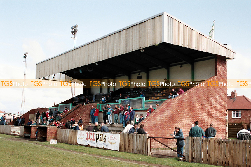 The main stand at Blyth Spartans FC Football Ground, Croft Park, Blyth, Northumberland, pictured on 10th April 1993