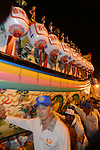 Donggang, Taiwan -- The King Boat leaves Donglong Temple for its short journey through the midnight streets of Donggang.