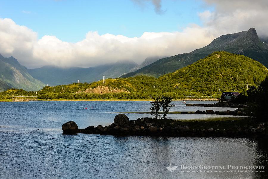 Norway, Lofoten. Coastal landscape close by the bridge from Austvågæy to Gimsøy.