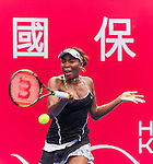Risa Ozaki of Japan vs Venus Williams of USA during their singles 1st round match at the WTA Prudential Hong Kong Tennis Open 2016 at the Victoria Park stadium on 10 October 2016 in Hong Kong, China. Photo by Victor Fraile / Power Sport Images