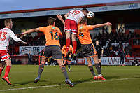 Danny Newton of Stevenage heads the ball during Stevenage vs Reading, Emirates FA Cup Football at the Lamex Stadium on 6th January 2018