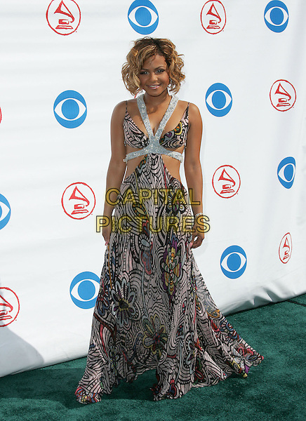 CHRISTINA MILIAN.The 5th Annual Latin Grammy Awards held at The Shrine Auditoreum in Los Angeles, California.September 1st, 2004.full length, cut away, halterneck, silver straps, fashion disaster, colourful, colorful.www.capitalpictures.com.sales@capitalpictures.com.Copyright by Debbie VanStory