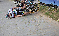 While chasing race leader Philippe Gilbert up ahead, Peter Sagan (SVK/Bora-Hansgrohe) hits a fence and crashes up the Oude Kwaremont, taking other race favorites Greg Van Avermaet (BEL/BMC) & <br /> Oliver Naesen (BEL/AG2R-LaMondiale) down with him<br /> <br /> 101th Ronde Van Vlaanderen 2017 (1.UWT)<br /> 1day race: Antwerp › Oudenaarde - BEL (260km)