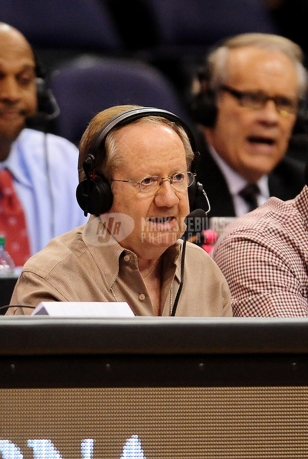 Dec. 8, 2010; Phoenix, AZ, USA; Phoenix Suns announcer Al McCoy against the Memphis Grizzlies at the US Airways Center. Mandatory Credit: Mark J. Rebilas-