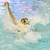 Luka Zuric of Ward Melville competes in the 100 yard backstroke race during Day 1 of the NYSPHSAA varsity boys swimming Federation Championships at Nassau Aquatic Center in East Meadow on Friday, March 2, 2018.