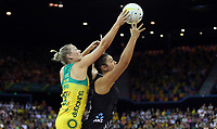 07.10.2018 Silver Ferns Maia Wilson and Australia's Courtney Bruce in action during the Silver Ferns v Australia netball test match at the Brisbane Entertainment Centre in Brisbane. Mandatory Photo Credit ©Michael Bradley.