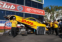 Nov 9, 2018; Pomona, CA, USA; Crew members for NHRA funny car driver J.R. Todd during qualifying for the Auto Club Finals at Auto Club Raceway. Mandatory Credit: Mark J. Rebilas-USA TODAY Sports