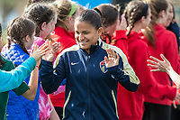 Boston, MA - Sunday May 07, 2017: Debinha De Oliveira and fans prior to a regular season National Women's Soccer League (NWSL) match between the Boston Breakers and the North Carolina Courage at Jordan Field.