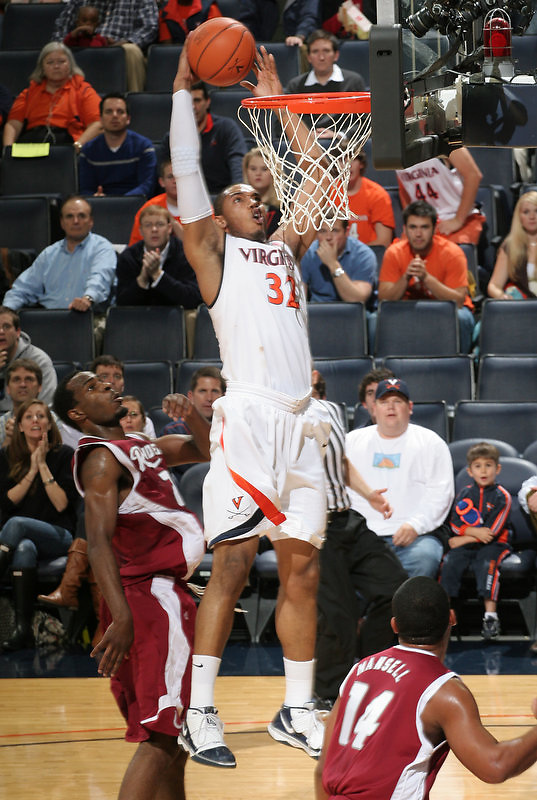 Mike Scott had 17 points and nine rebounds Thursday night, leading Virginia to a 79-46 victory against Rider in the Cancun Challenge Thursday Nov. 19, 2009 at John Paul Jones Arena.  (Photo/Andrew Shurtleff)