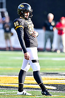 Baltimore, MD - OCT 14, 2017: Towson Tigers place kicker Aidan O'Neill (30) lines up a field goal during game between Towson and Richmond at Johnny Unitas Stadium in Baltimore, MD. The Spiders defeated the Tigers 23-3. (Photo by Phil Peters/Media Images International)