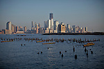 USA, New York, Hudson river,s water and lower manhattan