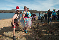 NWA Democrat-Gazette/BEN GOFF @NWABENGOFF<br /> Participants prepare to take the plunge Saturday, Feb. 9, 2019, during the Special Olympics Arkansas Beaver Lake Polar Plunge at Prairie Creek recreation area. Divers measured the water temperature at 44 degrees Fahrenheit and the air temperature in nearby Rogers rose to 30 degrees Fahrenheit by the time participants dove in, according to the National Weather Service. The annual event is a fundraiser for Special Olympics Arkansas.