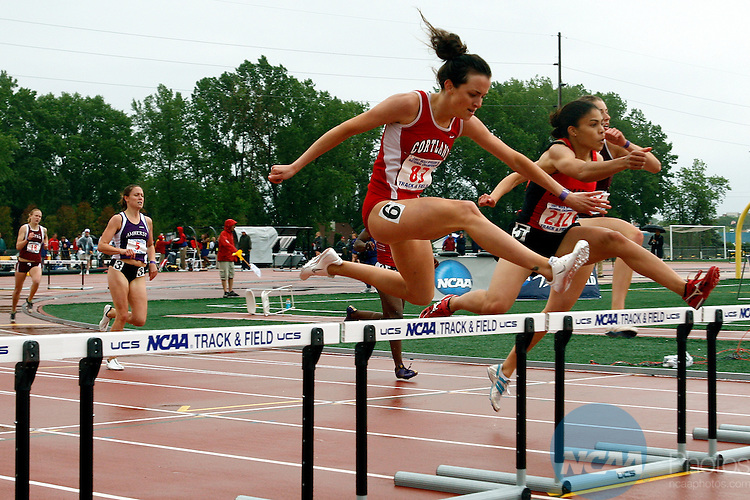 26 MAY 2007: Fawn Dorr (72), a freshman from Cortland SUNY wins the 400 meter hurdles with a NCAA D3 season best time of 59.50 during the Division III Women's Outdoor Track and Field Championship held at JJ Keller Field at Titan Stadium in Oshkosh, WI.  Also competing is Jen Dias (212), a senior from Rensselaer Poly Institute who finished in second place.   Allen Fredrickson/NCAA Photos