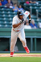 Infielder William Carmona (23) of the Lakewood BlueClaws in a game against the Greenville Drive on Wednesday, April 24, 2013, at Fluor Field at the West End in Greenville, South Carolina. Lakewood won, 7-5. (Tom Priddy/Four Seam Images)
