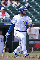 Iowa Cubs catcher Victor Caratini (17) in action during a game against the Round Rock Express at Principal Park on April 16, 2017 in Des  Moines, Iowa.  The Cubs won 6-3.  (Dennis Hubbard/Four Seam Images)