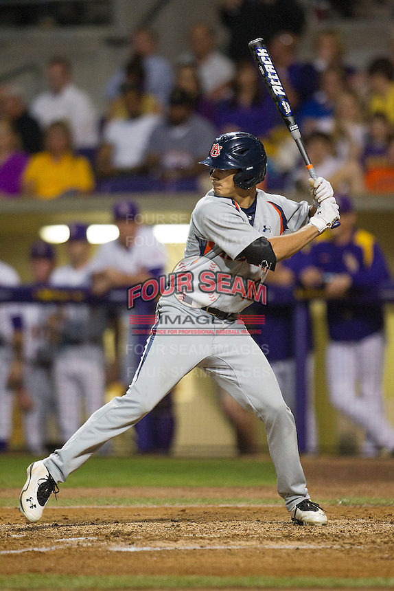Auburn Tigers outfielder Jackson Burgreen #19 at bat against the LSU Tigers in the NCAA baseball game on March 22nd, 2013 at Alex Box Stadium in Baton Rouge, Louisiana. LSU defeated Auburn 9-4. (Andrew Woolley/Four Seam Images).