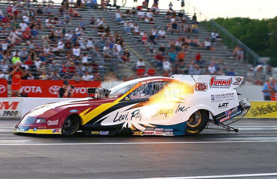 May 31, 2013; Englishtown, NJ, USA: NHRA funny car driver Tim Wilkerson during qualifying for the Summer Nationals at Raceway Park. Mandatory Credit: Mark J. Rebilas-