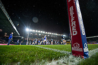 Picture by Allan McKenzie/SWpix.com - 08/02/2018 - Rugby League - Betfred Super League - Leeds Rhinos v Hull KR - Elland Road, Leeds, England - Leeds warm up at Elland Road, Betfred, branding.
