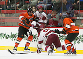 Michael Zajac (Princeton - 16), Devin Tringale (Harvard - 22), Mike Seward (Harvard - 18), Matt Nelson (Princeton - 6) - The Harvard University Crimson defeated the visiting Princeton University Tigers 5-0 on Harvard's senior night on Saturday, February 28, 2015, at Bright-Landry Hockey Center in Boston, Massachusetts.