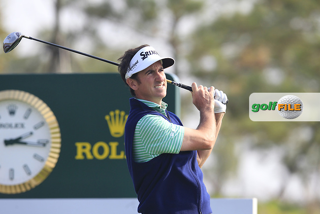Gonzalo Fernandez-Castano (ESP) tees off the 18th tee during Sunday's Final Round of the 2014 BMW Masters held at Lake Malaren, Shanghai, China. 2nd November 2014.<br /> Picture: Eoin Clarke www.golffile.ie