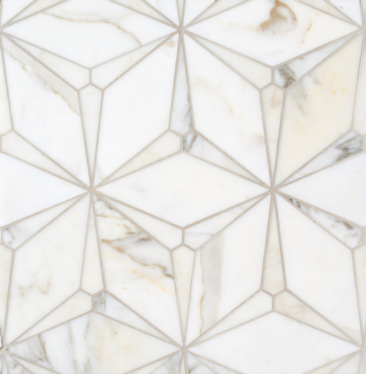 Cassiopeia, a stone waterjet mosaic, shown in polished Calacatta Gold, is part of the Semplice® collection for New Ravenna.