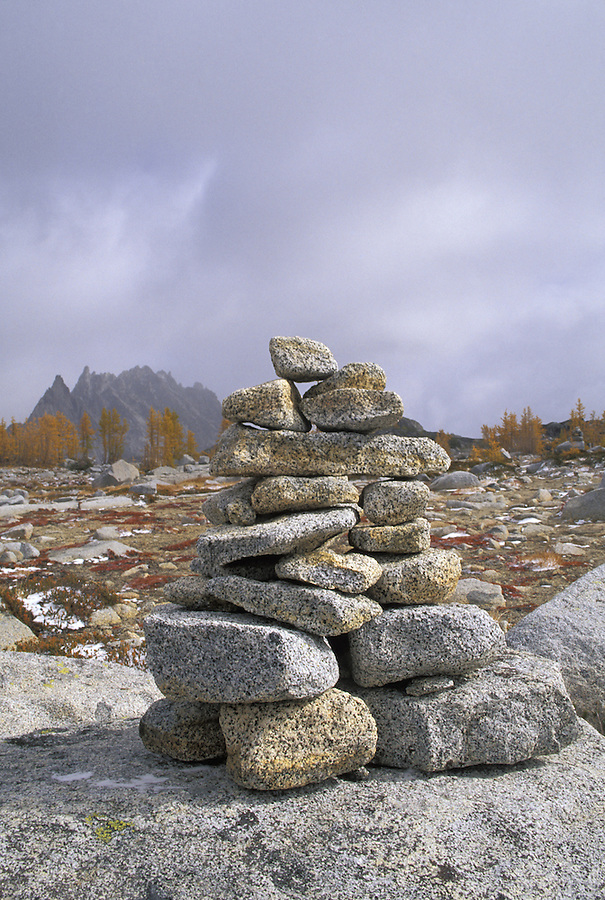 "A pile of rocks called a ""cairn"" are used to mark a trail or route, Enchantment Lakes, Alpine Lakes Wilderness, Washington"