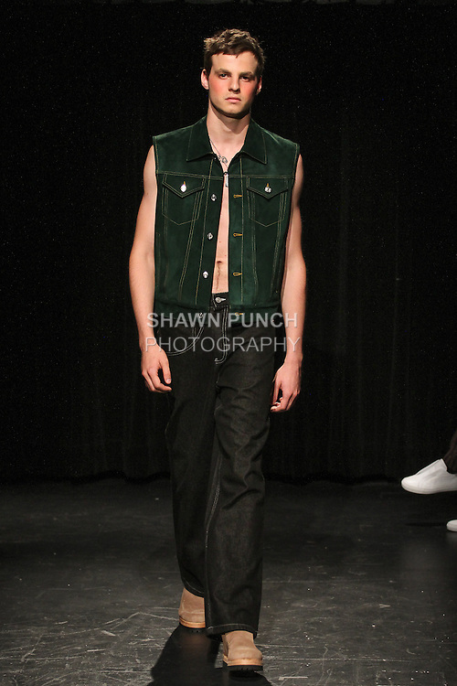 Model Ilir walks runway in an outfit from the Linder Spring Summer 2017 collection by Sam Linder and Kirk Millar on July 11 2016, during New York Fashion Week Men's Spring Summer 2017.