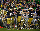 Oct. 13, 2012; Notre Dame wide receiver TJ Jones celebrates his touchdown in overtime against Stanford with teammates. Notre Dame won 20 to 13 in overtime. Photo by Barbara Johnston/University of Notre Dame