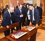 Egyptian President Abdel Fattah al-Sisi and Gabon's President Ali Bongo visit Gabonese wood exhibition in Libreville on August 16, 2017. Photo by Egyptian President Office