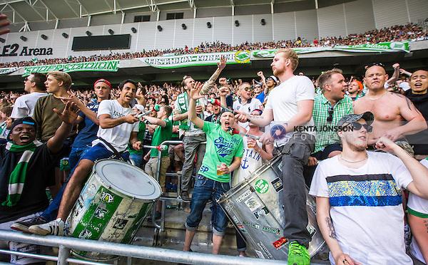 Stockholm 2014-05-24 Fotboll Superettan Hammarby IF - Varbergs BoIS FC  :  <br /> Hammarbys supportrar med trummor<br /> (Foto: Kenta J&ouml;nsson) Nyckelord:  Superettan Tele2 Arena HIF Bajen Varberg BoIS supporter fans publik supporters jubel gl&auml;dje lycka glad happy