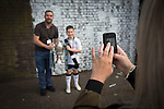 An Edinburgh City fan and his dad are photographed with the Scottish Cup at Meadowbank Stadium before Hibernian took on their hiosts in a pre-season friendly. The match was City's first at the Commonwealth Stadium since they gained promotion from the Lowland League to the Scottish League in May 2016. A record crowd for a City match of 2500 spectators saw the visitors run out 6-1 winners.