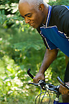 African American man on mountain bike