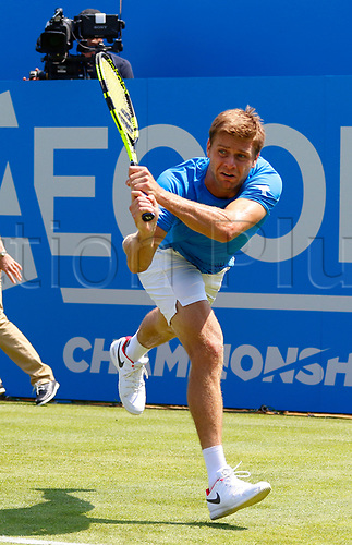 June 19th 2017, Queens Club, West Kensington, London; Aegon Tennis Championships, Day 1; Ryan Harrison (USA) hits a backhand during his first round singles match against number six seed Grigor Dimitrov (BUL)