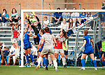 Clark, Hannah_BLU6055<br /> Hannah Clark (11) defends the goal against Ohio State. The game between BYU and Ohio State ended in a scoreless draw in double overtime at South Field Monday, August 21 <br /> <br /> <br /> August 21, 2017<br /> <br /> Photography by Gabriel Mayberry /BYU<br /> <br /> © BYU PHOTO 2017<br /> All Rights Reserved<br /> photo@byu.edu  (801)422-7322