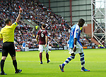 Hearts v St Johnstone...04.08.12.Gregory Tade is sent off by ref Stevie O'Reilly.Picture by Graeme Hart..Copyright Perthshire Picture Agency.Tel: 01738 623350  Mobile: 07990 594431