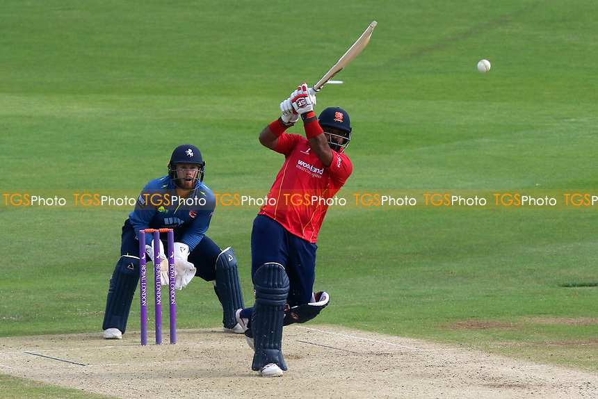 Ashar Zaidi of Essex in batting action as Adam Rouse looks on from behind the stumps during Kent Spitfires vs Essex Eagles, Royal London One-Day Cup Cricket at the St Lawrence Ground on 17th May 2017