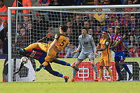 Mamadou Sakho of Crystal Palace takes a kick to his head from a Lewis Dunk of Brighton & Hove Albion shot at goal during Crystal Palace vs Brighton & Hove Albion, Premier League Football at Selhurst Park on 14th April 2018
