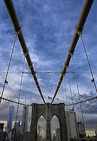 Brooklyn Bridge and Flag - New York City - One World Trade Center