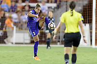Houston, TX - Saturday June 17, 2017: Toni Pressley clears the ball from her side of the field during a regular season National Women's Soccer League (NWSL) match between the Houston Dash and the Orlando Pride at BBVA Compass Stadium.