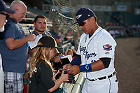 Lakeland Flying Tigers shortstop Isaac Paredes (3) signs autographs for fans before a game against the Tampa Tarpons on April 5, 2018 at Publix Field at Joker Marchant Stadium in Lakeland, Florida.  Tampa defeated Lakeland 4-2.  (Mike Janes/Four Seam Images)