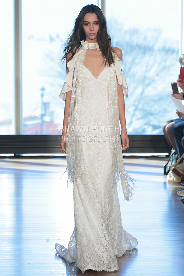 """Model Chantelle walks runway in a """"Cher"""" bridal gown from the Rivini Spring Summer 2017 bridal collection by Rita Vinieris at The Standard Highline Room, during New York Bridal Fashion Week on April 15, 2016."""