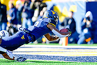 Morgantown, WV - NOV 10, 2018: West Virginia Mountaineers running back Kennedy McKoy (6) dives in for a touchdown late in the 2nd quarter of game between West Virginia and TCU at Mountaineer Field at Milan Puskar Stadium Morgantown, West Virginia. (Photo by Phil Peters/Media Images International)
