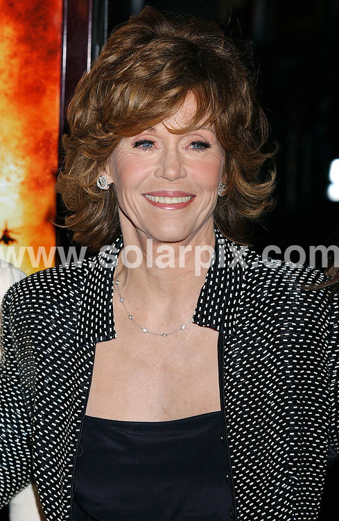 **ALL ROUND PICTURES FROM SOLARPIX.COM**.**WORLDWIDE SYNDICATION RIGHTS EXCLUDING - FRANCE** ..Jane Fonda arrives at the premiere of the film, BLOOD DIAMOND in Hollywood, Ca. at the Grauman's Chinese Theater on Dec 6, 2006.  ..DATE: 06/12/2006-JOB REF: 3144-GLS.**MUST CREDIT SOLARPIX.COM OR DOUBLE FEE WILL BE CHARGED**